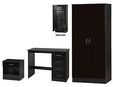 Alpha Black High Gloss 3 Piece Bedroom Set Double Wardrobe Desk & Bedside Table