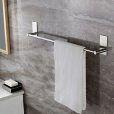 Self Adhesive Bathroom Towel Bar Brushed Bath Wall Shelf Rack Hanging Hanger