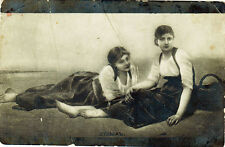 UNPOSTED Vintage Russian postcard TWO YOUNG WOMEN ARE RESTING