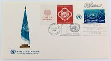 1966 UNITED NATIONS FDC signed by DESIGNER $1 STAMP with SUPERB OFFICIAL CACHET.
