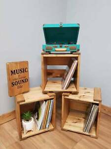 Wooden Crate LP and Record Storage Fully Assembled & Stackable Boxes Vinyl displ