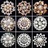 Silver Gold Pearl Crystal Rhinestone Round Brooch Pin Wedding Bridal Jewelry New