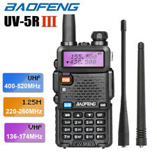 BAOFENG UV-5R III Tri-Band Walkie Talkie Two Way FM Radio Long Range + Earpiece