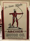 ARCHER+MOTOR+OIL+TIN+TACKER+SIGN+1991+OIL+CAN+ADVERTISING+GREAT+LOOK%21