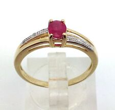 9ct gold ruby & diamond oval ring, UK size O, Brand new, actual one, UK Seller.
