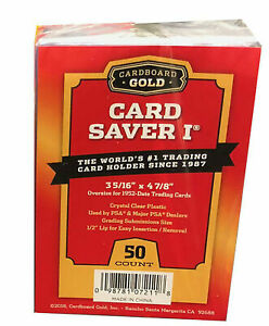 "(50ct) Cardboard Gold Card Saver I 1 Semi Rigid PSA Grading Holders 1/2"" Lip New"
