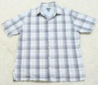 Van Heusen White & Gray Dress Shirt Button Up Short Sleeve Pocket Cotton Rayon