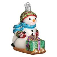 SNOWMAN ON SKIS WITH PRESENT OLD WORLD CHRISTMAS GLASS SKIING ORNAMENT NWT 24163