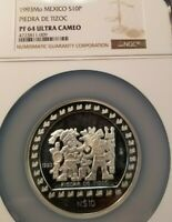 1993 MEXICO SILVER 10 PESOS NGC PF 64 ULTRA CAMEO LOW MINTAGE SCARCE COIN !!!