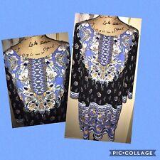 ALFANI PAISLEY AND FLORAL PRINT SHIFT DRESS~BLACK, BLUE, ORANGE, WHITE~MEDIUM