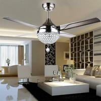 Crystal Ceiling Fan Light Chandelier LED Pendant Lamp Remote Stainless Steel 44""