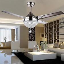 Crystal Ceiling Fan Light LED Pendant Lamp Remote Control  Stainless Steel  44""