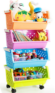 MAGDESIGNER Kids' Toys Storage Organizer Bins Baskets with Wheels Can Move Every