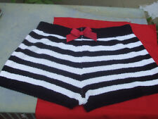 STRIPED PLUSH SHORTS White and Black Horizontal Betsey Johnson Red Heart Bow Tie