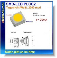 50 unidades de SMD LED PLCC 2, 3528 la luz del día-blanco 2200-2400 MCD 120 ° 20ma