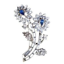 Silver Tone Blue Crystal Flower Bouquet Womens Pin Brooch