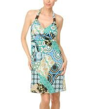 White Mark Couture Collection Aqua Blue Abstract Halter Dress SIZE Large~NWT $70