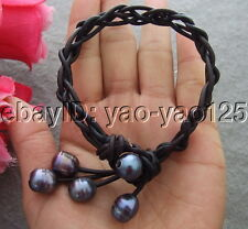 Black Pearl Brown Leather Bracelet