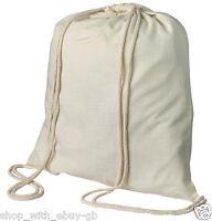 5 x PLAIN NATURAL COTTON DRAWSTRING RUCKSACK TOTE BAGS / SCHOOL PE & BOOK BAG