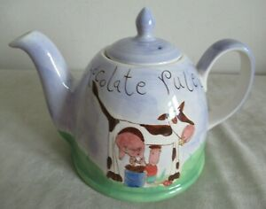 WHITTARD  ~ SMALL DOME TEAPOT  ~ CHOCOLATE RULES / CHOCCIE COW ~ DISPLAY ONLY