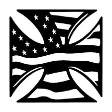 2 Aufkleber Iron cross Amerika American Flag  Auto Sticker Decal 12 cm JDM