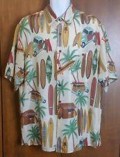 Silk Traders Woodie Surf Board Hawaii By Sunrise Ent USA Silk Shirt Size L