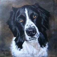 "CUSTOM DOG PORTRAIT PAINTING by artist BETS 24"" X 24"" Your Beloved Dog On Canvas"