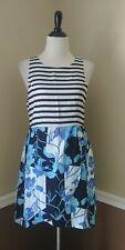 NWT MINKPINK Black & White Striped Dress M Blue Floral Twofer Modcloth Whirls