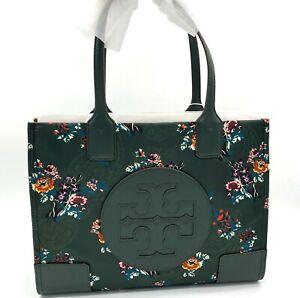 NWT TORY BURCH ELLA Printed Logo Mini Nylon Tote Bag In Green French Paisley
