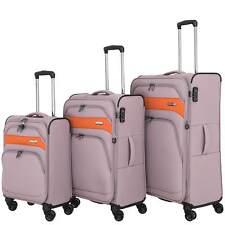 March READY Taupe/Orange 3er Set erweiterbar Reisekoffer Dehnfalte Stoff Trolley