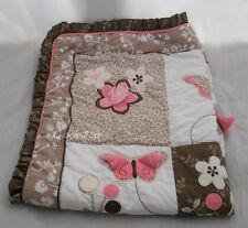 Cocalo crib quilt comforter blanket Mia Rose pink brown butterflies flowers