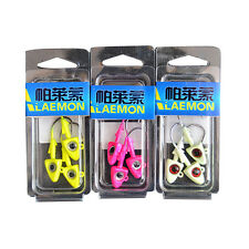 Fishing Jig Head with 2/0 Hook Fish Shape Lead Head Hooks 3 Colors 3 Pcs/Pack ES