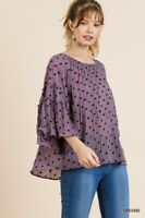 Umgee Orchid Purple Polka Dot Print Bell Sleeve Top