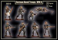 MARS 32016 1/32 WWII GERMAN NAVAL INFANTRY 15 Unpainted Figures FREE SHIP