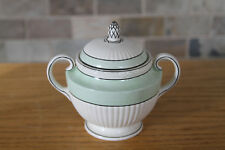 Classy Antique Wedgwood Queens Ware Tri-Color Green Cream Sugar Bowl (c.1920s)