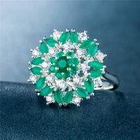 Fashion Women Rings 925 Silver Jewelry Wedding Ring Round Cut Emerald Size 6-10