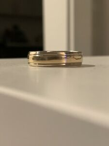Authentic Stamped 10k Mens Womens Two Tone Solid Gold Wedding Band Size 11.25