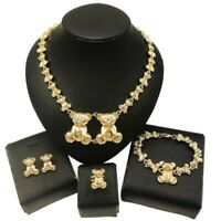 #55 HUGS & KISSES xo set teddy bear necklace bracelet earrings ring 18k Layered