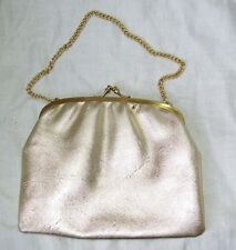 CHIC VINTAGE 50S - 60S EVENING BAG GOLD FAUX LEATHER CHAIN HANDLE  PURSE CLASP