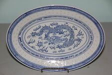 """Chinese Blue & White Porcelain Rice Eyes with Dragon 11 5/8"""" Oval Platter"""