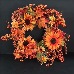 Autumn Sunflower Wreath 55cm - Artificial Harvest Fall Autumn Winter Decorations
