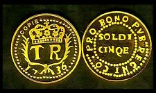 ★★ CORSE : RARE COPIE PLAQUé OR DE LA 5 SOLDI 1736 DE NEUHOF ★★★ LEG:PVB REGNI