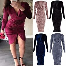 Ladies Cowl Neck Crushed Velour Velvet Women Long Front Ruched Midi Top Dress