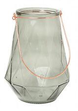 WINDLICHT LIBINA Ø 17 x 24 cm Glas Grau Laterne Kerzenhalter Teelichthalter