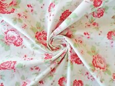 Cath Kidston Fabric White Floral Roses Metre Cotton Curtains Dressmaking Wedding