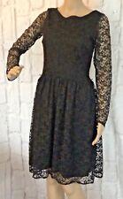 Oasis Womens Dress Size S UK 10 Black Lace Effect L/Sleeve Skater Party Season
