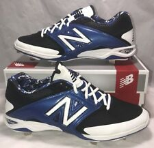 New Balance Mens Size 12 Baseball Cleats Black Blue White Metal Leather New