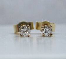 Brand New 1/5ct (.20ct) Diamond 9ct Yellow Gold Stud Earrings £75 Freepost