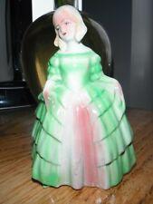 "Antique Art Deco Hand Painted Pottery 6"" High Crinoline Lady  figure 1920-30's"