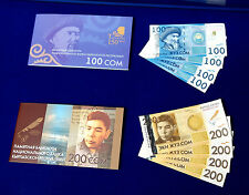 Kyrgyzstan set commemorative 100 + 200 som 2009+2010/2014 +folders UNC overprint